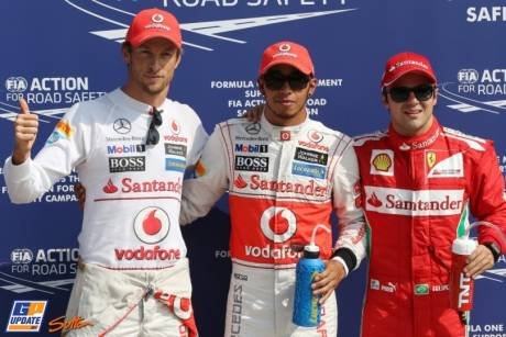 The Top Three Qualifiers : Second Place Jenson Button (McLaren Merceds), Pole Position Lewis Hamilton and Third Place Felipe Massa (Scuderia Ferrari)