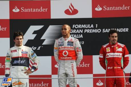 The Podium : Second Place Sergio Perez (Sauber F1 Team), Race Winner Lewis Hamilton (McLaren Mercedes) and Third Place Fernando Alonso (Scuderia Ferrari)