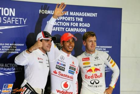The Top Three Qualifiers : Second Place Pastor Maldonado (Williams F1 Team), Pole Position Lewis Hamilton (McLaren Merceds) and Third Place Sebastian Vettel (Red Bull Racing)