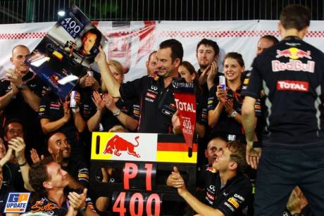 Red Bull Racing celebrating 400 races and the Singapore Grand Prix victory by Sebastian Vettel