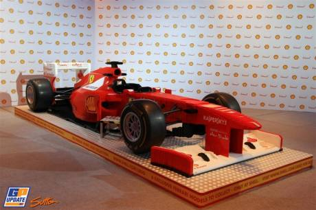 A Scuderia Ferrari made out of Lego