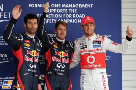 The Top Three Qualifiers : Second Place Mark Webber (Red Bull Racing), Pole Position Sebastian Vettel (Red Bull Racing) and Third Place Jenson Button (McLaren Mercedes)