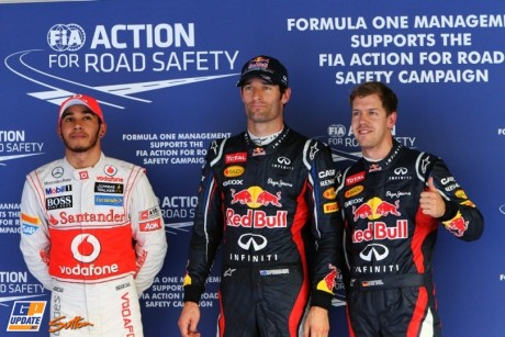 The Top Three Qualifiers : Third Place Lewis Hamilton (McLaren Mercedes), Pole Position Mark Webber (Red Bull Racing) and Second Place Sebastian Vettel (Red Bull Racing)