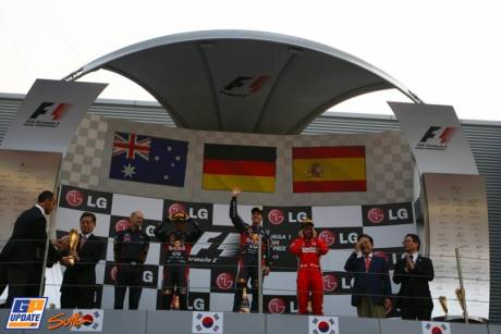 The Podium : Second Place Mark Webber (Red Bull Racing), Race Winner Sebastian Vettel (Red Bull Racing) and Third Place Fernando Alonso (Scuderia Ferrari)