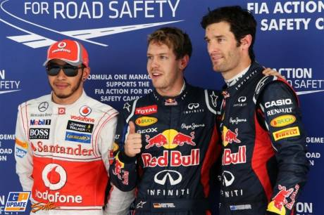 The Top Three Qualifiers : Third Place Lewis Hamilton (McLaren Mercedes), Pole Position Sebastian Vettel (Red Bull Racing) and Second Place Mark Webber (Red Bull Racing)