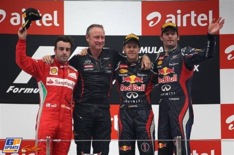 The Podium : Second Place Fernando Alonso (Scuderia Ferrari), Race Winner Sebastian Vettel (Red Bull Racing) and Third Place Mark Webber (Red Bull Racing)