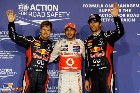 The Top Three Qualifiers : Third Place (Before receiving a penalty) Sebastian Vettel (Red Bull Racing), Pole Position Lewis Hamilton (McLaren Mercedes) and Second Place Mark Webber (Red Bull Racing)