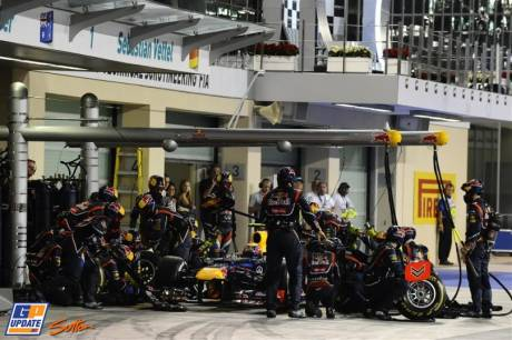 Pit Stop for Mark Webber (Red Bull Racing, RB8)