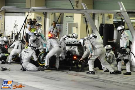 Pit Stop for Michael Schumacher, Mercedes AMG F1 Team, W03