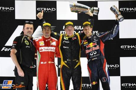 The Podium : Second Place Fernando Alonso (Scuderia Ferrari), Race Winner Kimi Räikkönen (Lotus F1 Team) and Third Place Sebastian Vettel (Red Bull Racing)