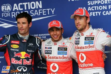 The Top Three Qualifiers : Third Place Mark Webber (Red Bull Racing), Pole Position Lewis Hamilton (McLaren Mercedes) and Second Place Jenson Button (McLaren Mercedes)