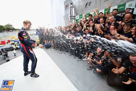 Sebastian Vettel Celebrates his Third World Championship Title with Red Bull Racing