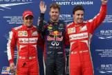 The Top Three Qualifiers : Second Place Felipe Massa (Scuderia Ferrari), Pole Position Sebastian Vettel (Red Bull Racing) and Third Place Fernando Alonso (Scuderia Ferrari)