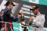 The Podium : Race Winner Sebastian Vettel (Red Bull Racing) and Third Place Lewis Hamilton (Mercedes AMG F1 Team)