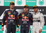 The Podium : Second Place Mark Webber (Red Bull Racing), Race Winner Sebastian Vettel (Red Bull Racing) and Third Place Lewis Hamilton (Mercedes AMG F1 Team)