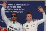 The Top Qualifiers : Pole Position Lewis Hamilton (Mercedes AMG F1 Team) and Second Place Kimi Räikkönen (Lotus F1 Team)