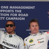 The Top Qualifiers : Pole Position Lewis Hamilton (Mercedes AMG F1 Team) and Second Place Kimi Räikkönen (Lotus F1 Team)