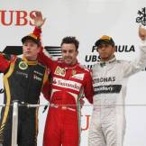 The Podium : Second Place Kimi Räikkönen (Lotus F1 Team), Race Winner Fernando Alonso (Scuderia Ferrari) and Third Place Lewis Hamilton (Mercedes AMG F1 Team)