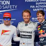 The Top Three Qualifiers : Third Place Ferando Alonso (Scuderia Ferrari), Pole Position Nico Rosberg (Mercedes AMG F1 Team) and Second Place Sebastian Vettel (Red Bull Racing)