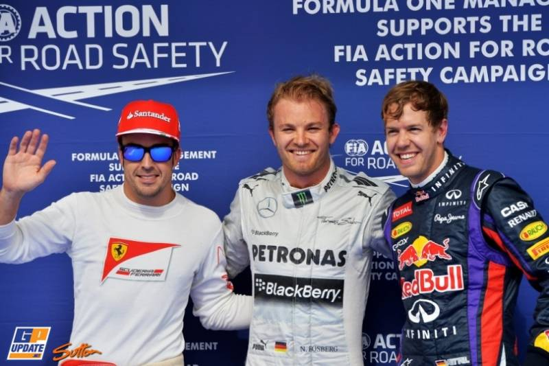 The Top Three Qualifiers : Third Place Ferando Alonso (Scuderia Ferrari), Pole Position Nico Rosberg (Mercedes AMG F1 Team) and Second Place Sebastian Vettel (Red Bull Racing)