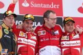 The Podium : Second Place Kimi Räikkönen (Lotus F1 Team), Race Winner Fernando Alonso (Scuderia Ferrari), Stefano Domenicali (Scuderia Ferrari) and Third Place Felipe Massa (Scuderia Ferrari)