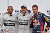 The Top Three Qualifiers : Second Place Lewis Hamilton (Mercedes AMG F1 Team), Pole Position Nico Rosberg (Mercedes AMG F1 Team) and Third Place Sebastian Vettel (Red Bull Racing)