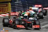 Sergio Perez (McLaren Mercedes, MP4-28), Adrian Sutil (Force India F1 Team, VJM06) and Jenson Button (McLaren Mercedes, MP4-28)