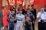 The Podium : Second Place Sebastian Vettel (Red Bull Racing), Race Winner Nico Rosberg (Mercedes AMG F1 Team), Third Place Mark Webber (Red Bull Racing) and Ross Brawn (Mercedes AMG F1 Team)
