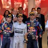 The Podium : Second Place Sebastian Vettel (Red Bull Racing), Race Winner Nico Rosberg (Mercedes AMG F1 Team), Third Place Mark Webber (Red Bull Racing) and Ross Brawn (Mercedes AMG F1 Team)