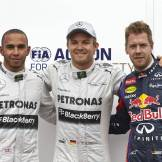 The Top Three Qualifiers : Second Place Lewis Hamilton, Pole Position Nico Rosberg and Third Place Sebastian Vettel
