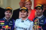 The Podium : Second Place Sebastian Vettel, Race Winner Nico Rosberg and Third Place Mark Webber