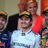 The Podium : Second Place Sebastian Vettel, Race Winner Nico Rosberg and Third Place Mark Webber