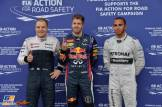 The Top Three Qualifiers : Third Place Valtteri Bottas (Williams F1 Team), Pole Position Sebastian Vettel (Red Bull Racing) and Third Place Lewis Hamilton (Mercedes AMG F1 Team)