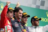 The Podium : Second Place Fernando Alonso (Scuderia Ferrari), Race Winner Sebastian Vettel (Red Bull Racing) and Third Place Lewis Hamilton (Mercedes AMG F1 Team)