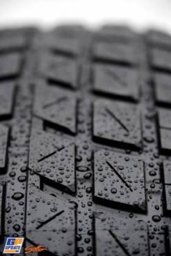 Detail of a Pirelli Rain Tyre