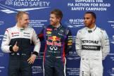 Valtteri Bottas (Williams F1 Team), Sebastian Vettel (Red Bull Racing) and Lewis Hamilton (Mercedes AMG F1 Team)