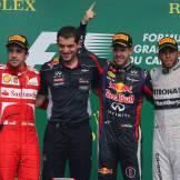 Fernando Alonso (Scuderia Ferrari), Sebastian Vettel (Red Bull Racing) and Lewis Hamilton (Mercedes AMG F1 Team)