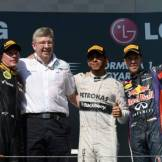 The Podium : Second Place Kimi Räikkönen (Lotus F1 Team), Ross Brawn (Mercedes AMG F1 Team), Race Winner Lewis Hamilton (Mercedes AMG F1 Team) and Third Place Sebastian Vettel (Red Bull Racing)