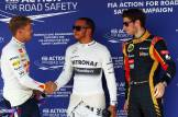 Sebastian Vettel (Red Bull Racing), Lewis Hamilton (Mercedes AMG F1 Team) and Romain Grosjean (Lotus F1 Team)