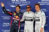 Sebastian Vettel (Red Bull Racing), Lewis Hamilton (Mercedes AMG F1 Team) and Nico Rosberg (Mercedes AMG F1 Team)