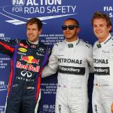 Sebastian Vettel (Red Bull Racing), Lewis Hamilton (Mercedes AMG F1 Team) and Nico Rosberg (Mercedes AMG F1 Team)