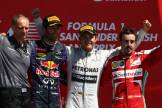 Mark Webber (Red Bull Racing), Nico Rosberg (Mercedes AMG F1 Team) and Fernando Alonso (Scuderia Ferrari)