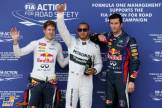 The Top Three Qualifiers : Second Place Sebastian Vettel (Red Bull Racing), Pole Position Lewis Hamilton (Mercedes AMG F1 Team) and Third Place Mark Webber (Red Bull Racing)
