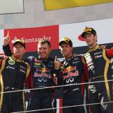 Kimi Räikkönen (Lotus F1 Team), Sebastian Vettel (Red Bull Racing) and Romain Grosjean (Lotus F1 Team)
