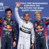 The Top Three Qualifiers : Third Place Mark Webber (Red Bull Racing), Pole Position Lewis Hamilton (Mercedes AMG F1 Team) and Second Place Sebastian Vettel (Red Bull Racing)