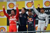 The Podium : Second Place Fernando Alonso (Scuderia Ferrari), Race Winner Sebastian Vettel (Red Bull Racing) and Third Place Lewis Hamilton (Mercedes AMG F1 team)