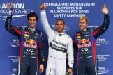 Mark Webber (Red Bull Racing), Lewis Hamilton (Mercedes AMG F1 Team) and Sebastian Vettel (Red Bull Racing)