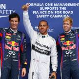 Mark Webber (Red Bull Racing), Lewis Hamilton (Mercedes AMG F1 Team) and Sebastian Vettel (Red Bull Racing)