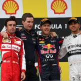 Fernando Alonso (Scuderia Ferrari), Sebastian Vettel (Red Bull Racing) and Lewis Hamilton (Mercedes AMG F1 Team)