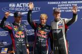 The Top Three Qualifiers : Second Place Mark Webber (Red Bull Racing), Pole Position Sebastian Vettel (Red Bull Racing) and Third Place Nico Hülkenberg (Sauber F1 Team)